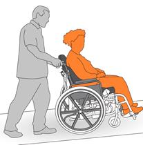 6. Pushing a wheelchair up a slight incline or ramp.