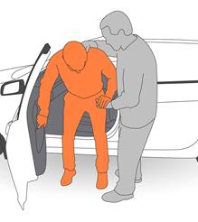 2. Assist client to sit back into vehicle.