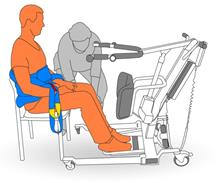 3. Bring lifter forward, place client's feet on foot plate.