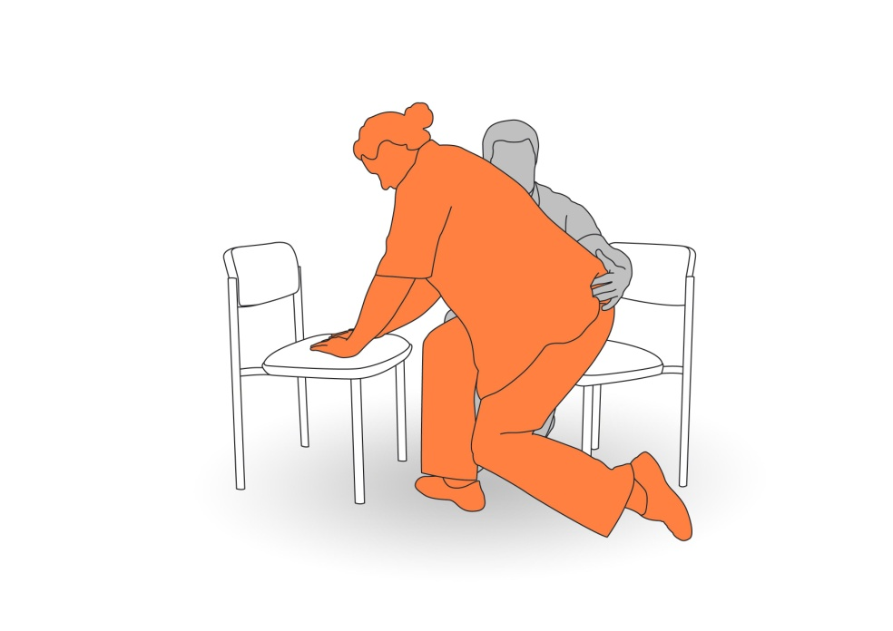6. Assist client to sit up into chair.