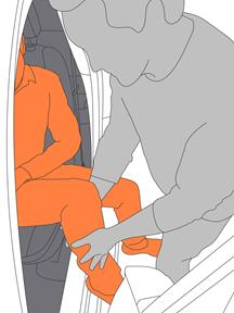 3. Lift client's legs into vehicle.