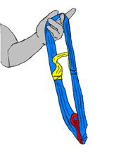 6. Close-up of the portable hoist sling - lower the spreader bar and attach the sling