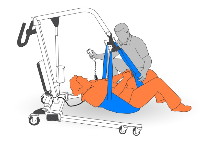 7. Raise client with portable hoist and sling