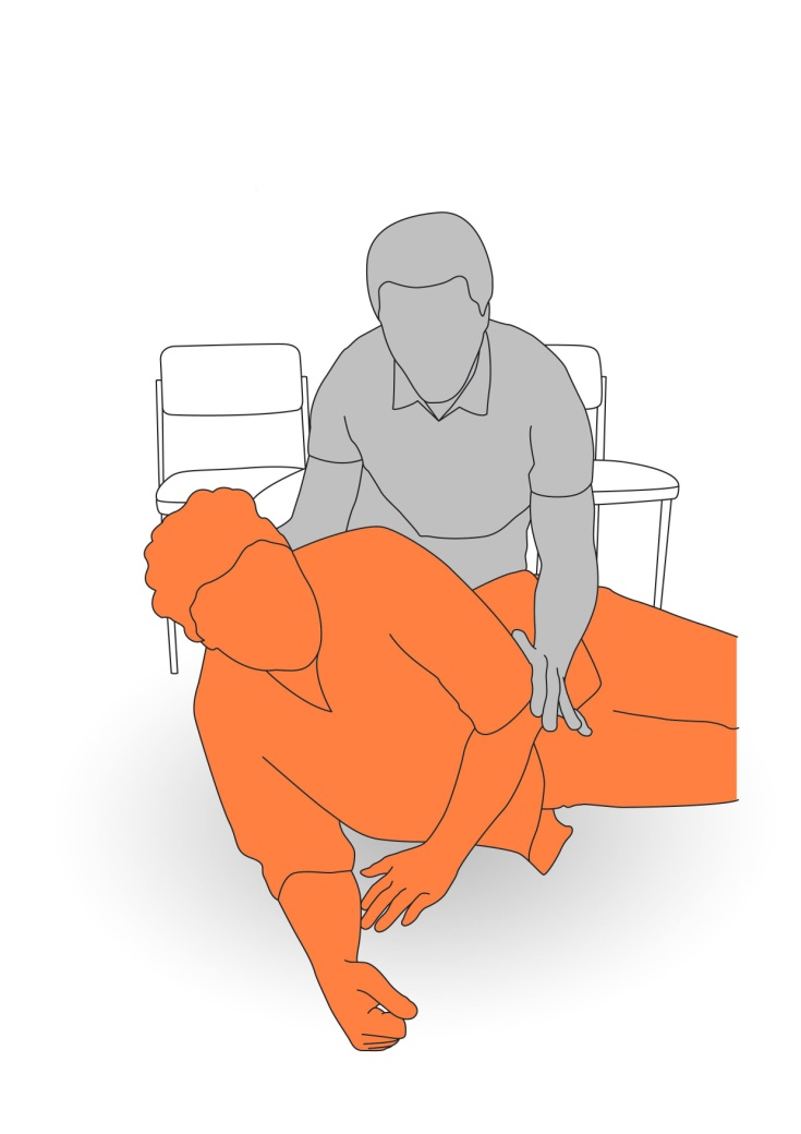 2. Assist client to lean onto their elbow.
