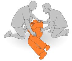 2. Assist client to roll to side and set the sling in place