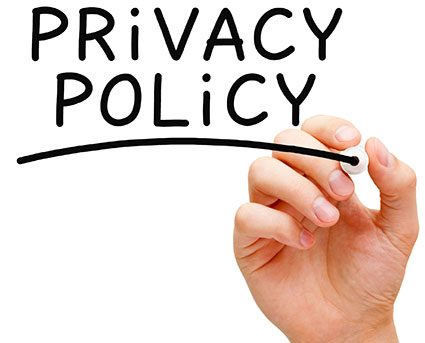 A woman's hand is writing 'privacy policy' in black text ona glass board.