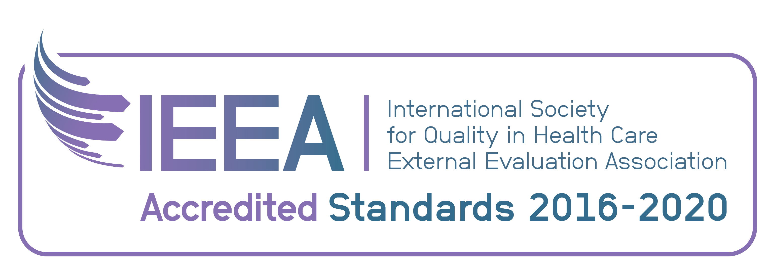 Logo showing ASES's accreditation in The International Society for Quality in Health and Social Care (ISQua)